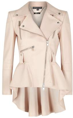 Alexander McQueen Blush Peplum Leather Jacket