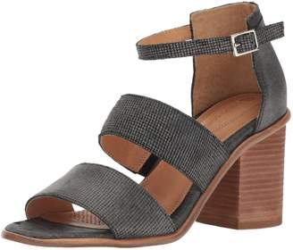 Corso Como Women's Sus Heeled Sandal, Square Black Stripe Laser Leather