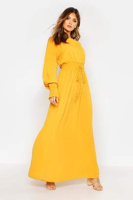 boohoo Woven Shirred Waist Maxi Dress