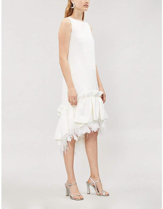 HUISHAN ZHANG Jodie feather-trim crepe dress