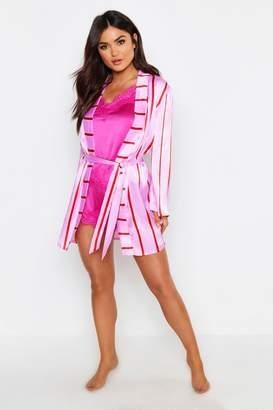 boohoo Skinny Stripe Satin Gown
