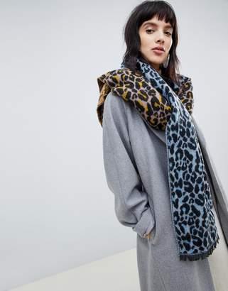 Asos Design DESIGN oversized woven scarf in leopard print