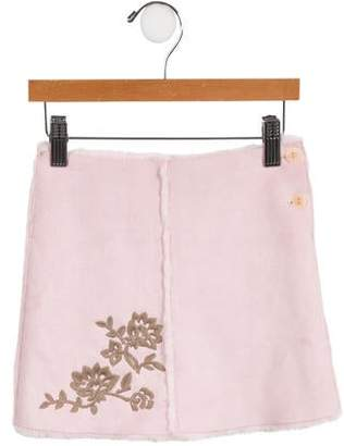 Lili Gaufrette Girls' Embroidered Faux Fur Skirt