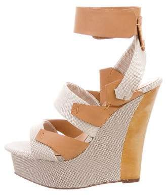 L.A.M.B. Leather Wedge Sandals w/ Tags