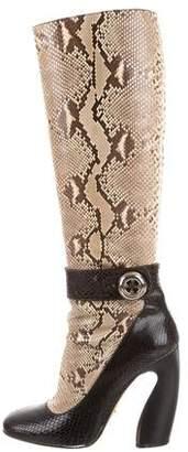 Prada Snakeskin Knee-High Boots