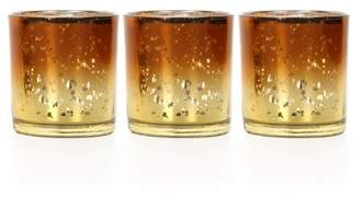 Mainstays Amber and Gold Ombre Mercury Glass Tealight Holder, Set of 3
