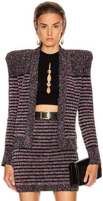 Balmain Collarless Glitter Stripe Jacket in Black Multi | FWRD