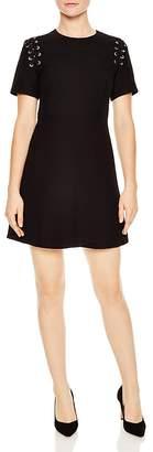 Sandro Faha Lace-Up Shoulder Mini Dress