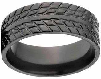 Ring Black ONLINE Custom Men's Tire Tread Zirconium Wedding Band with Comfort Fit Design