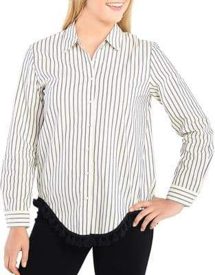 Kensie Oxford Stripe Casual Button-Down Cotton Shirt