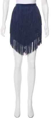 Haute Hippie Fringed Knee-Length Skirt