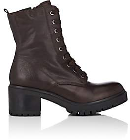 Barneys New York WOMEN'S LUG-SOLE LEATHER ANKLE BOOTS - LT. BROWN SIZE 6