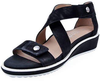Bettye Muller Concept Tobi Leather Demi-Wedge Sandals, Black