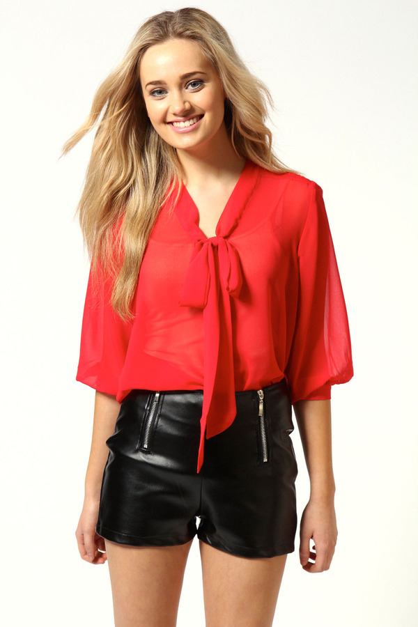 boohoo Ann Smocked Pussy Bow Blouse