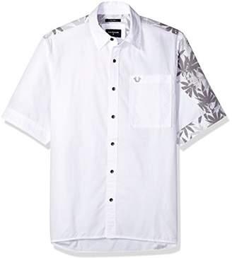 True Religion Men's Marijuana Leaf Print Slouchy Woven Shirt