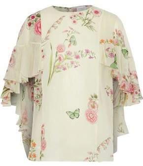 Giambattista Valli Cape-Effect Ruffled Floral-Print Silk-Georgette Blouse