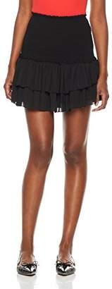 Plumberry Women's High Smocking Waisted Ruffle Pleated Skirt Floral Mini Skirt