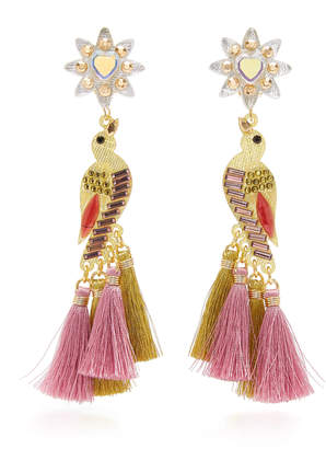 Mercedes Salazar Sabanero Dorado Tasseled Gold-Plated Crystal Earrings