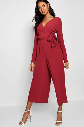 boohoo Wrap Over Woven Jumpsuit