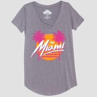 Awake Women's Short Sleeve Miami Photo Print Graphic T - Shirt Heather Gray