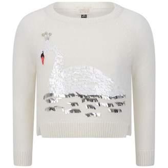 Armani Junior Armani JuniorGirls Ivory Swan Applique Sweater