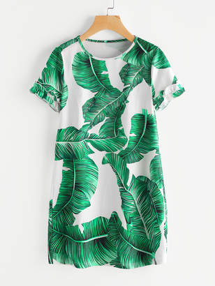 Shein Palm Leaf Print Frilled Sleeve Dress