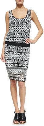 Black Halo Cassie Sleeveless Geometric-Print Dress, Black/White $298 thestylecure.com