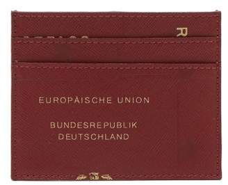 Vetements - Leather Passport Print Card Holder - Mens - Burgundy