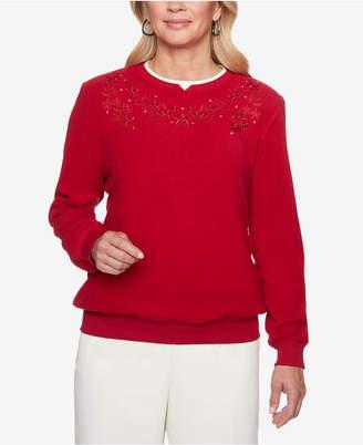 Alfred Dunner Classics Embroidered Rhinestone-Embellished Sweatshirt