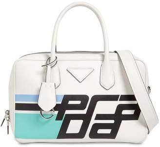 Prada Printed Logo Leather Tote Bag