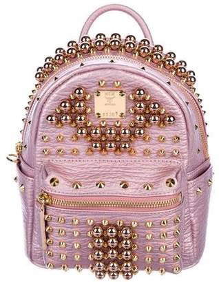 MCM Mini Stark Pearl Stud Leather Backpack