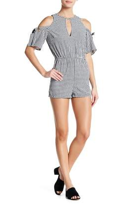 Angie Cold Shoulder Gingham Romper