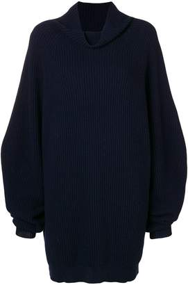 Cavallini Erika cowl neck rib knit sweater