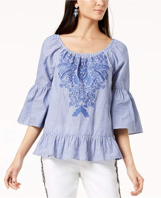 INC International Concepts I.N.C. Cotton Embroidered Peasant Top, Created for Macy's