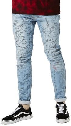 Men's Topman Doodle Print Stretch Skinny Fit Jeans $85 thestylecure.com