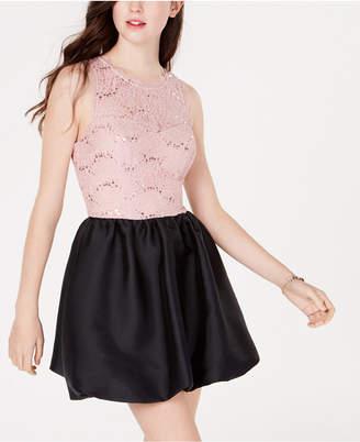 Speechless Juniors' Bubble Hem Fit & Flare Dress