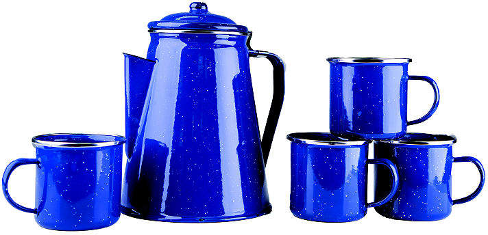 STANSPORT Stansport Enamel 8-Cup Percolator Coffee Pot and 4 12-Ounce Mugs