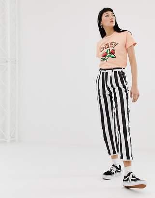 Obey cigarette trousers in bold stripe