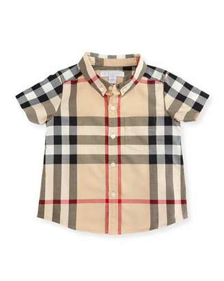 Burberry Mini Fred Short-Sleeve Check Shirt, Neutral, Size 6M-3