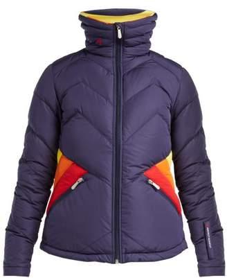 Perfect Moment - Apres Duvet Down Filled Ski Jacket - Womens - Navy Multi