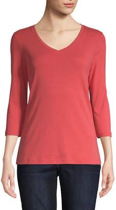 ST. JOHN'S BAY Womens V Neck 3/4 Sleeve T-Shirt