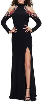 La Femme Cold-Shoulder Long-Sleeve Halter Gown with Embellished Rose Appliques