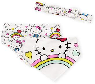 Hello Kitty Newborn Girls) 2 Bandana Bibs & Headwrap Set