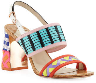 Sophia Webster Celia Mid-Heel Colorblock Sandals