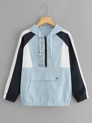 Shein Kangaroo Pocket Color Block Jacket