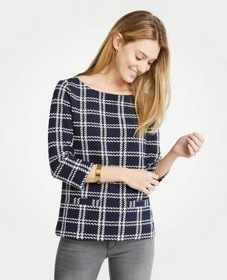 Ann Taylor Textured Plaid 3/4 Sleeve Top
