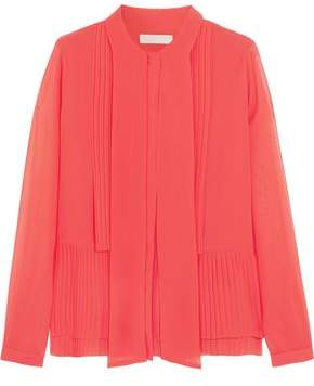 MICHAEL Michael Kors Draped Pleated Georgette Blouse