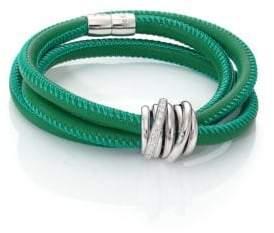 de GRISOGONO Allegra Diamond, 18K White Gold& Leather Wrap Bracelet/Green