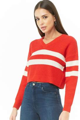 Forever 21 Varsity Striped Cropped Sweater