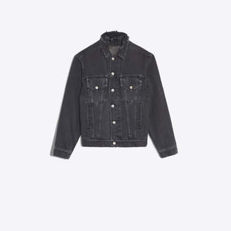 "Balenciaga Classic denim jacket with ""destroyed"" effect on collar"